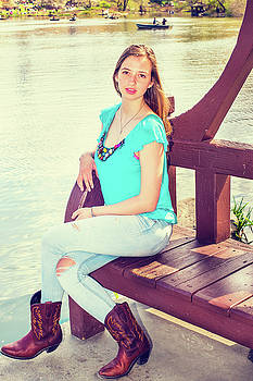 Alexander Image - American Teenage Girl Relaxing by Lake at Central Park in New Yo