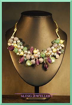 Amethyst Aventurine and Chalcedony Wire Wrapped Necklace by Janine Antulov
