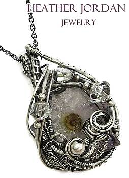 Amethyst Stalactite Slice Druzy Wire-Wrapped Pendant in Antiqued Sterling Silver w Herkimer Diamonds by Heather Jordan