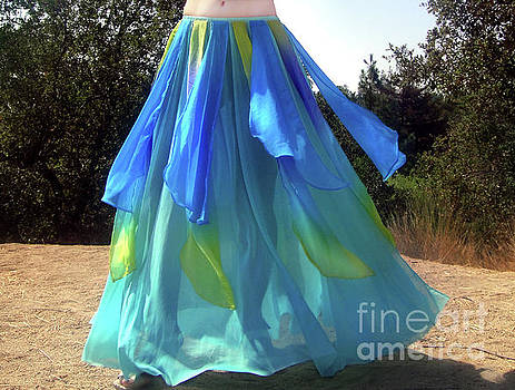 Sofia Metal Queen - Ameynra belly dance fashion light-blue skirt 036