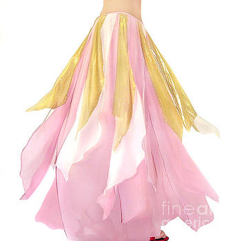 Sofia Metal Queen - Ameynra belly dance fashion - Pink-white-gold skirt