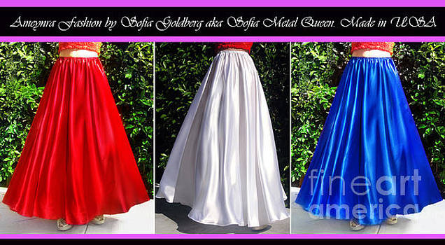 Sofia Metal Queen - Ameynra design. Satin skirts - red, white, blue