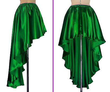 Sofia Metal Queen - Ameynra fashion green satin high low skirt