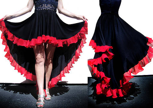 Sofia Metal Queen - Ameynra gothic fashion. Black high low skirt with red ruffle. by Sofia Goldberg