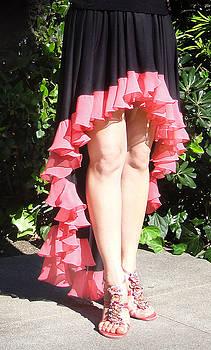 Sofia Metal Queen - Ameynra gothic fashion. High low skirt with coral chiffon ruffle