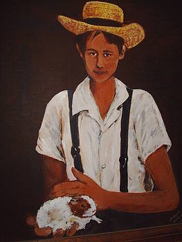 Amish Boy With Hamster by Joseph Baker