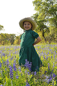Amish Girl and Blue Bonnets I by Carolina Liechtenstein