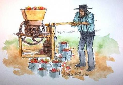 Amish Man Pressing Cider by Larry Wetherholt