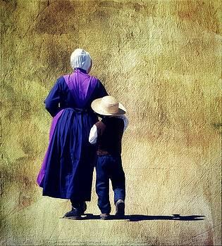 Amish Woman and Boy by Stephanie Calhoun