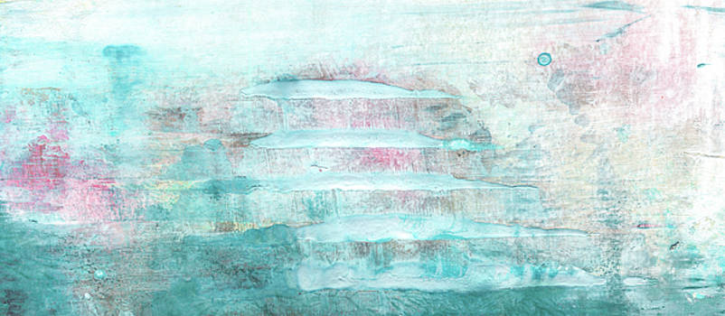 Amour - Contemporary Pastel Blue And Pink Bright Abstract Art Painting by Modern Art Prints