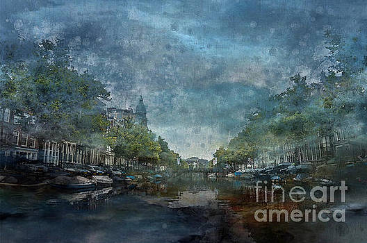 Amsterdam Canal with Houses and Boats by Barbara Dudzinska