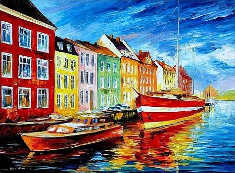 Amsterdam-City Dock - PALETTE KNIFE Oil Painting On Canvas By Leonid Afremov by Leonid Afremov