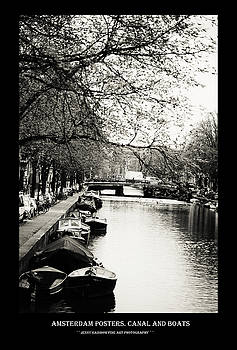Amsterdam Posters. Canal and Boats by Jenny Rainbow