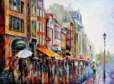 Amsterdam Rain - PALETTE KNIFE Oil Painting On Canvas By Leonid Afremov by Leonid Afremov