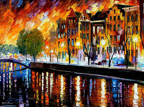 Amsterdam-Winter Reflection - PALETTE KNIFE Oil Painting On Canvas By Leonid Afremov by Leonid Afremov