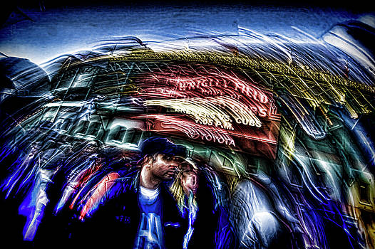 An Abstract vision of fans going to a Chicago Cubs game by Sven Brogren