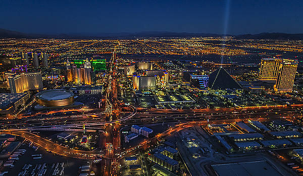 An aerial view of the Las Vegas Strip by Roman Kurywczak
