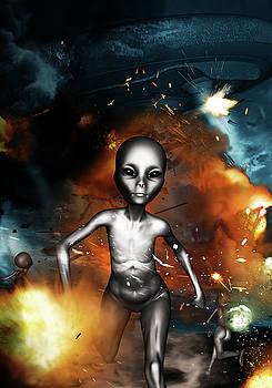 An alien in ufo crash sites by Chainat Prachatree