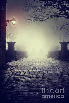 An Eerie Cobbled Road At Night In Winter Fog by Lee Avison