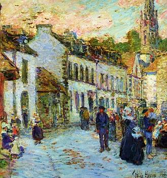 An Evening Street Scene Pont Aven by Hassam Childe