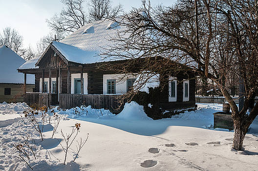 An old timber cottage at the Village Museum in Bucharest by Daniela Constantinescu