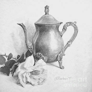 An silver teapot and a rose by Anna Starkova