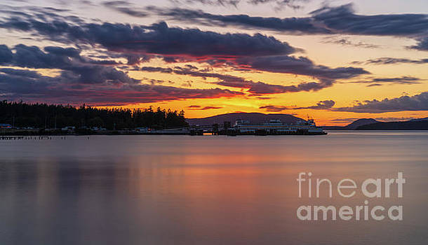 Anacortes Ferry Dock Sunset Gateway to the San Juan Islands by Mike Reid
