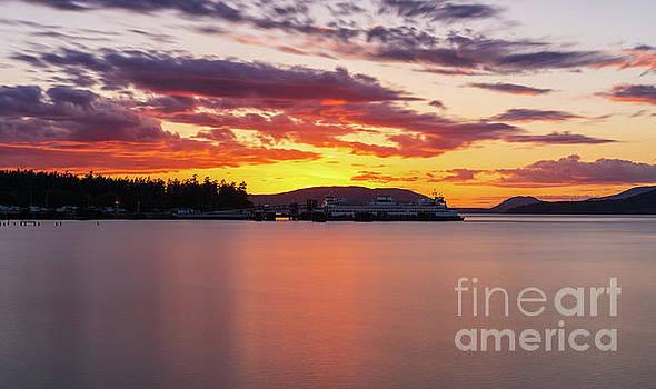 Anacortes Ferry Dock Sunset Smooth Reflections by Mike Reid