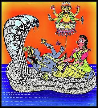 Anantha Sayanam-Patta chitra style by Latha Gokuldas Panicker