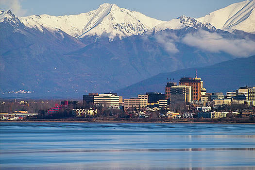 Kimberly Blom-Roemer - Anchorage Alaska Skyline with Cook Inlet