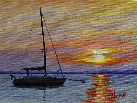 Anchored at Sunset by Marcia  Hero