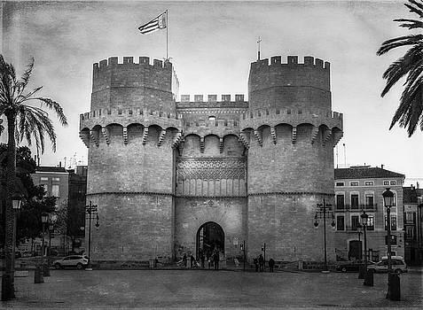 Ancient Gateway Valencia Spain BW by Joan Carroll