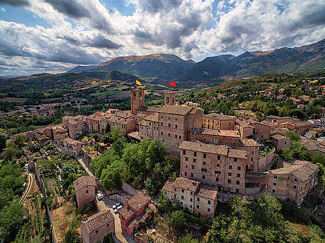 Ancient Village of Sarnano Italy, Marche, Macerata - Aerial View by David Daniel