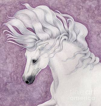 Andalusian Stallion in the Purple Mist by Sherry Goeben