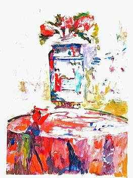 Anemones in a Chinese vase after Edouard Vuillard by Paul Thompson