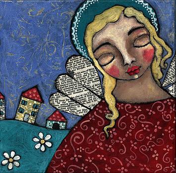 Angel and Village by Julie-ann Bowden