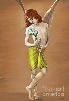 Angel holding a lily by Dominique Amendola