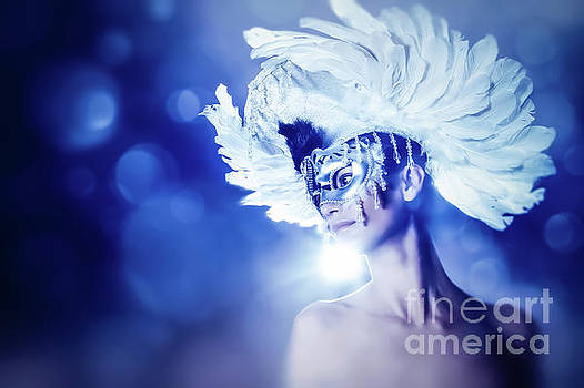 Dimitar Hristov - Angel Wings Venetian mask with feathers portrait