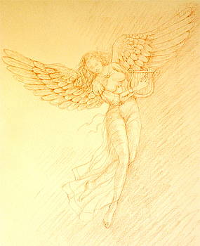 Angel with Harp by Deborah Dendler