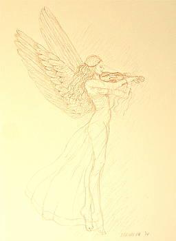 Angel with Violin by Deborah Dendler