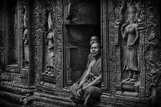 Angkor Wat Buddhist Monks by David Longstreath