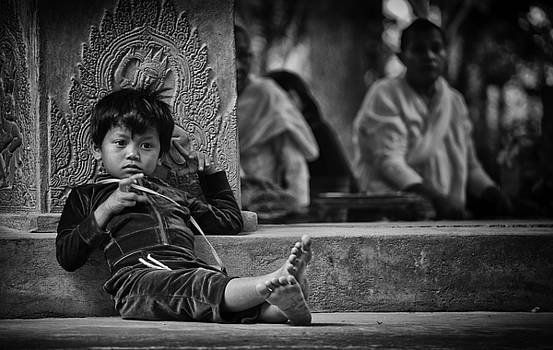 Angkor Wat Temple Boy 1 by David Longstreath