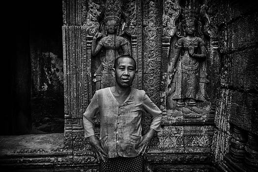 Angkor Wat temple Nun by David Longstreath