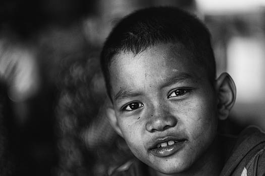 Angkor Wat Temple Boy by David Longstreath