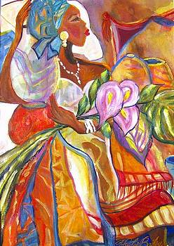 Angola Woman with Calla Lillies by Therese Fowler-Bailey