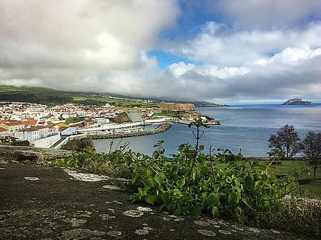 Angra do Heroismo Port and Split Rock Islet by Kelly Hazel