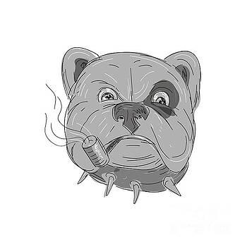 Angry Bulldog Smoking Corn Cob Pipe Drawing by Aloysius Patrimonio