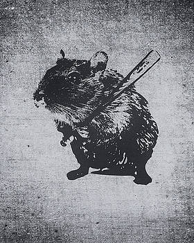 Angry street art mouse  hamster baseball edit  by Philipp Rietz