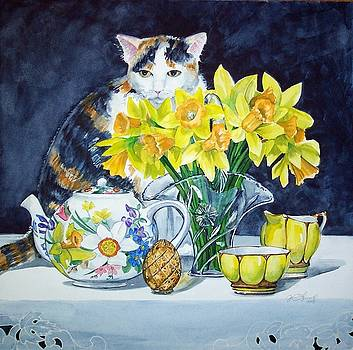Annabelle Behind Flowers by Jane Loveall