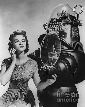 R Muirhead Art - Anne Francis movie photo Forbidden Planet with Robby the Robot